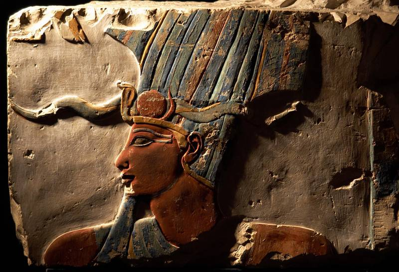 Egyptian Art, Polychrome relief of Pharaoh Thutmose III (h.1490-1436 BC), Sixth pharaoh of the 18th DynastyI, New Kingdom, Part from Thutmose Temple in Deir el-Bahari, Luxor Museum, Egypt. (Photo by Prisma/UIG/Getty Images)