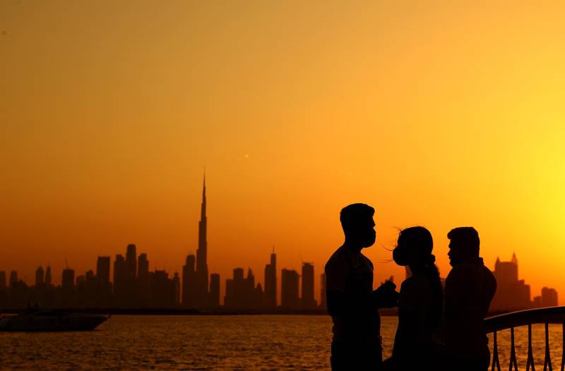 DUBAI, UNITED ARAB EMIRATES - APRIL 30: A general view of the Dubai Skyline on April 30, 2021 in Dubai, United Arab Emirates. Muslim men and women across the world observe Ramadan, a month long celebration of self-purification and restraint. During Ramadan, the Muslim community fast, abstaining from food, drink, smoking and sex between sunrise and sunset, breaking their fast with an Iftar meal after sunset.  (Photo by Francois Nel/Getty Images)