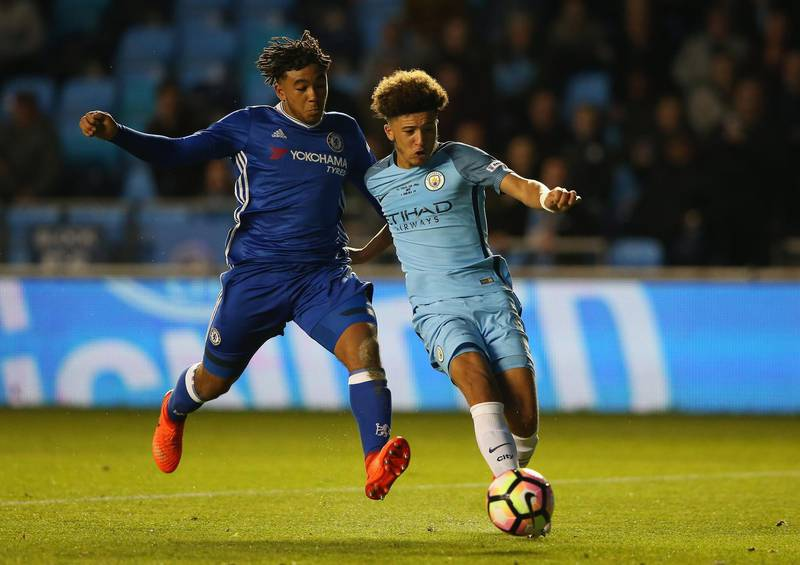 MANCHESTER, ENGLAND - APRIL 18:  Jadon Sancho of Manchester City takes the ball past Reece James of Chelsea during the FA Youth Cup Final First Leg match between Manchester City and Chelsea at The Academy Stadium on April 18, 2017 in Manchester, England.  (Photo by Alex Livesey/Getty Images)