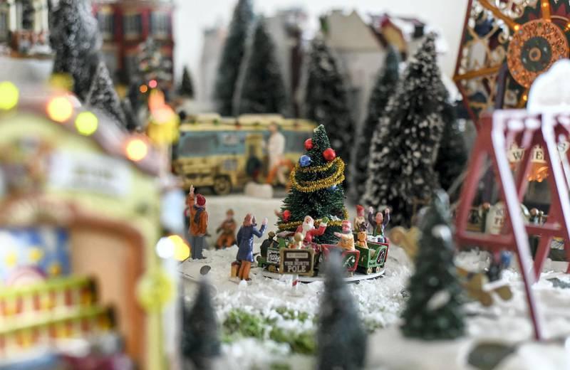 Abu Dhabi, United Arab Emirates - Lovely setup for Christmas miniatures and figurines. Khushnum Bhandari for The National