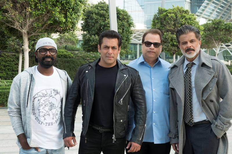 Remo D'Souza, Salman Khan, Ramesh S. Taurani and Anil Kapoor on location at Abu Dhabi Global Market for 'Race 3'. Courtesy twofour54