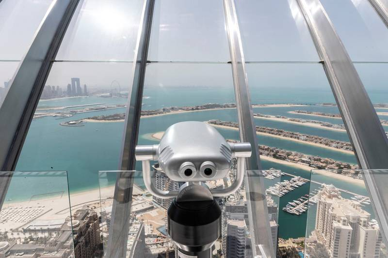 DUBAI, UNITED ARAB EMIRATES. 5 APRIL 2021. The View observation deck with 360 degrees of views of the Dubai Skyline situated on The Palm. (Photo: Antonie Robertson/The National) Journalist: Nick Webster. Section: National.