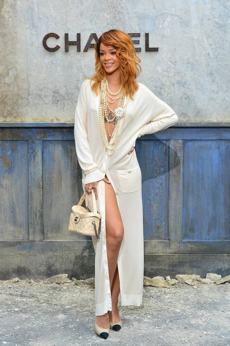 PARIS, FRANCE - JULY 02:  Rihanna attends the Chanel show as part of Paris Fashion Week Haute-Couture Fall/Winter 2013-2014 at Grand Palais on July 2, 2013 in Paris, France.  (Photo by Pascal Le Segretain/Getty Images)