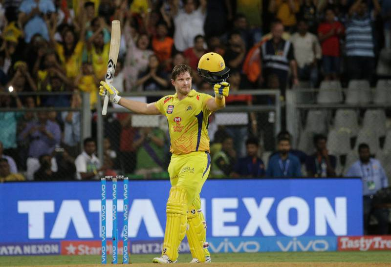 Chennai Super King's player Shane Watson celebrates after scoring his century against Sunrisers Hyderabad during VIVO IPL cricket T20 final match in Mumbai, India, Sunday, May 27, 2018. (AP Photo/Rafiq Maqbool)