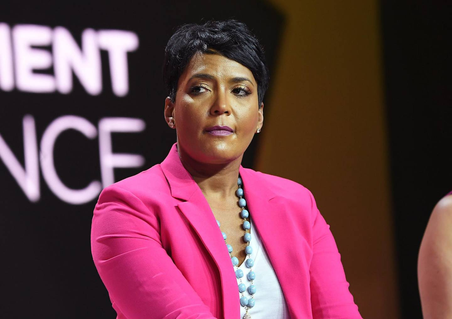 (FILES) In this file photo taken on July 06, 2018 Mayor of Atlanta Keisha Lance Bottoms speaks onstage during the 2018 Essence Festival presented by Coca-Cola at Ernest N. Morial Convention Center in New Orleans, Louisiana.  Atlanta Mayor Keisha Lance Bottoms has earned praise for her handling of turbulent anti-racism protests, boosting her prospects of becoming Joe Biden's running mate and potentially America's first black female vice president. / AFP / GETTY IMAGES NORTH AMERICA / Paras Griffin