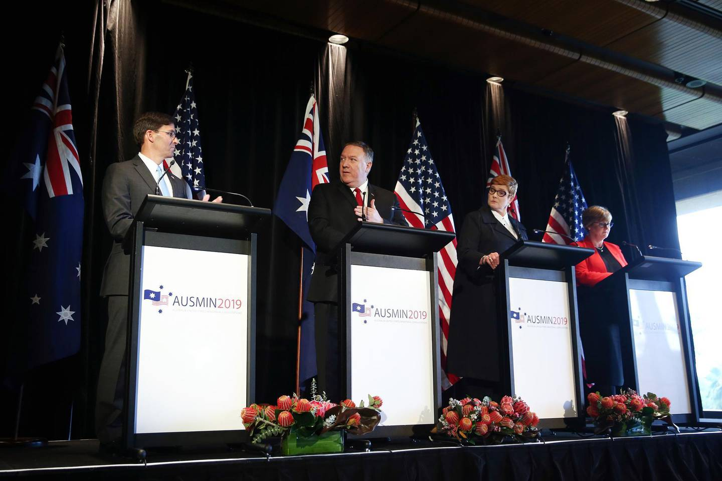 """Mike Pompeo, U.S. secretary of state, second left, speaks as Mark Esper, U.S. Secretary of Defense, left, Marise Payne, Australia's foreign minister, second right, and Linda Reynolds, Australia's defense minister, listen during a news conference in Sydney, Australia, on Sunday, Aug. 4, 2019. Secretary of DefenseMark Espersaid the U.S. is firmly against China's """"destabilizing"""" behavior in the Indo-Pacific, and won't stand by while one country reshapes the region, continuing a war of words between the superpowers. Photographer: Brendon Thorne/Bloomberg"""