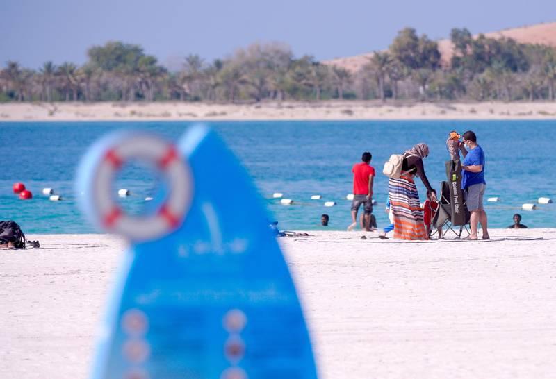 Abu Dhabi, United Arab Emirates, December, 2, 2020.   Abu Dhabi residents enjoy the Corniche on UAE National Day.Victor Besa/The NationalSection:  National News