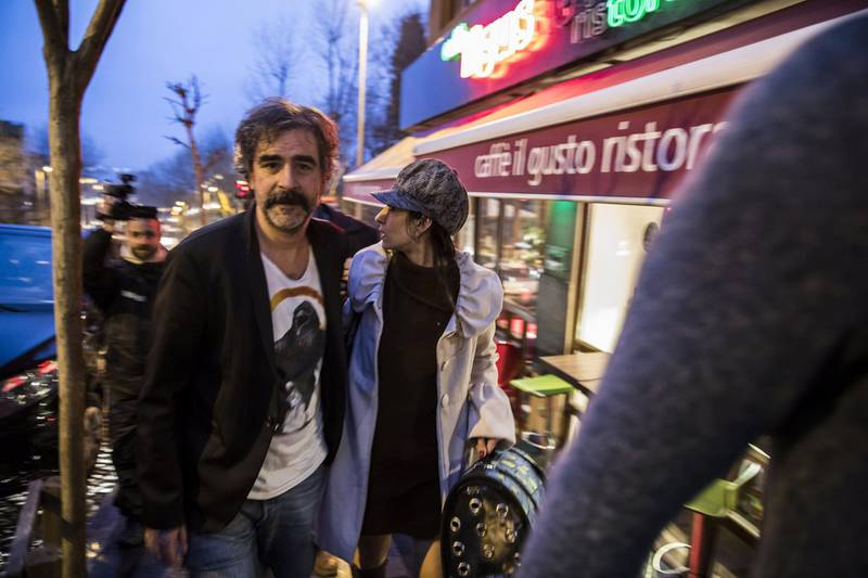 German-Turkish journalist Deniz Yucel and his wife, Dilek Mayaturk Yucel, are pictured in front of their home after Deniz Yucel was released from prison in Istanbul, Turkey, February 16, 2018. Depo Photos via REUTERS ATTENTION EDITORS - THIS PICTURE WAS PROVIDED BY A THIRD PARTY. NO RESALES. NO ARCHIVES. TURKEY OUT. NO COMMERCIAL OR EDITORIAL SALES IN TURKEY.