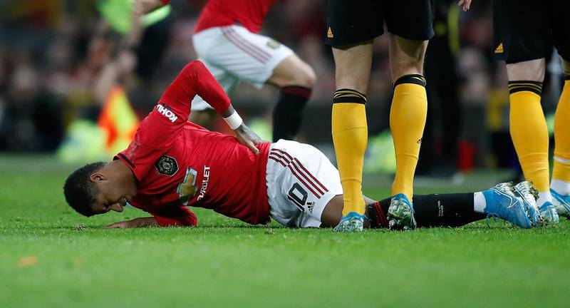 File photo dated 15-01-2020 of Manchester United's Marcus Rashford. PA Photo. Issue date: Sunday January 19, 2020. Manchester United striker Marcus Rashford is facing at least six weeks on the sidelines with a stress fracture of the back, manager Ole Gunnar Solskjaer told Sky Sports. See PA story SOCCER Liverpool Rashford. Photo credit should read Martin Rickett/PA Wire.