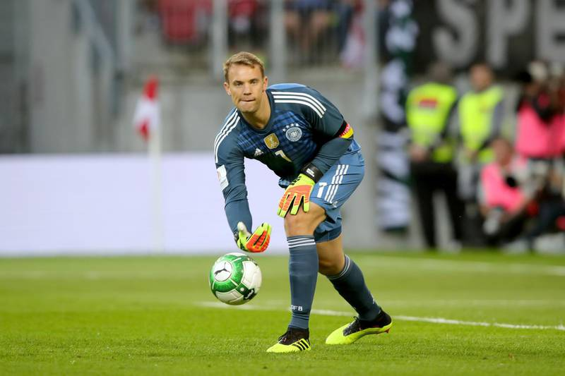 KLAGENFURT, AUSTRIA - JUNE 02:  Manuel Neuer  of Germany safes the ball during the International Friendly match between Austria and Germany at Woerthersee Stadion on June 2, 2018 in Klagenfurt, Austria.  (Photo by Alexander Hassenstein/Bongarts/Getty Images)
