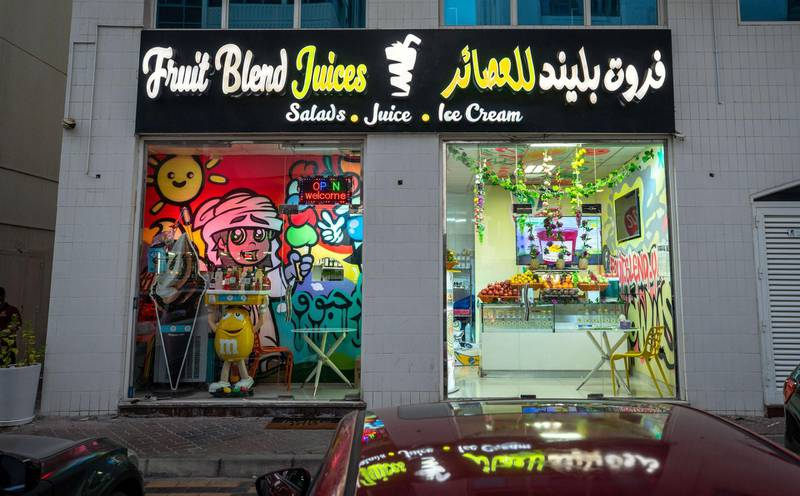 Abu Dhabi, United Arab Emirates, October  12, 2020.  Khalidiya by night article by Saeed Saeed on restaurants, café's on Al Yahar Street.  Fruit Blend Juices Bar.Victor Besa/The NationalSection:  NAReporter:  Saeed Saeed