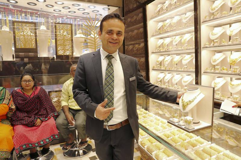 DUBAI , UNITED ARAB EMIRATES , Mar 10 – 2020 :- Suresh Kumar Mulani, Assistant Shop In-charge during the interview at the Kanz jewellery shop in Dubai Gold Souk in Deira Dubai. ( Pawan Singh / The National ) For News/Online Story by Kelly