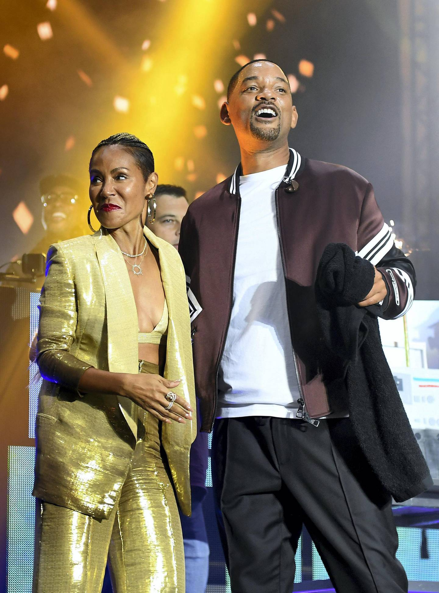 """BUDAPEST, HUNGARY - SEPTEMBER 25: Will Smith and wife Jada Pinkett Smith on stage during the Paramount Pictures, Skydance and Jerry Bruckheimer Films """"Gemini Man"""" Budapest concert at St Stephens Basilica Square on September 25, 2019 in Budapest, Hungary. (Photo by Ian Gavan/Getty Images for Paramount Pictures)"""
