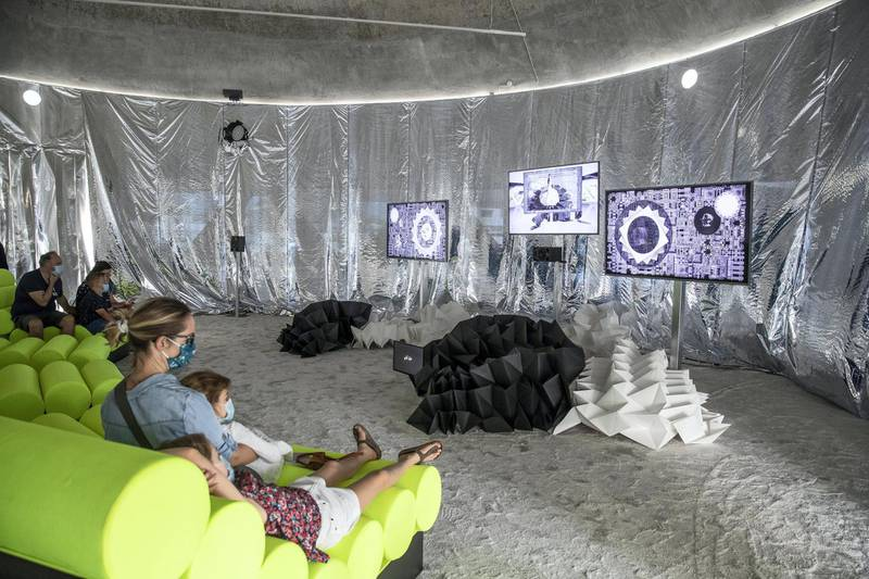 SHARJAH, UNITED ARAB EMIRATES. 23 SEPTEMBER 2020. Artwork by Lindsay Seers and Keith Sargeant titled Nowhere Less Now (3) at the newly launched Sharjah Art Foundation space called the Flying Saucer. (Photo: Antonie Robertson/The National) Journalist: Alexandra Chaves. Section: Arts & Life.