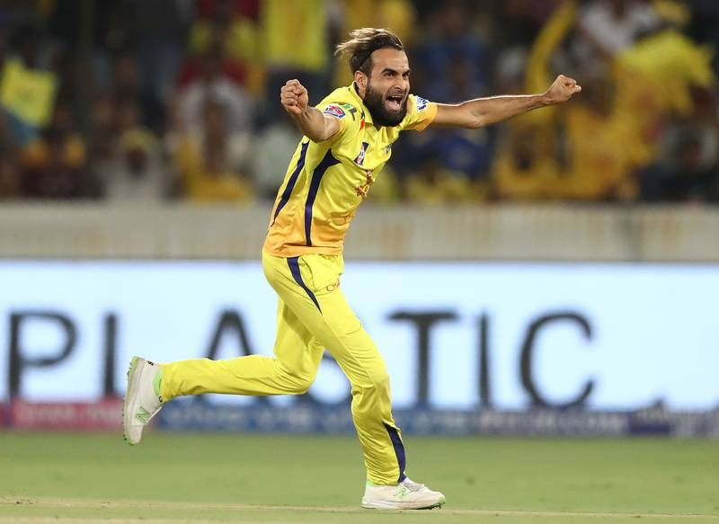 HYDERABAD, INDIA - MAY 12: Imran Tahir of the Chennai Super Kings celebrates taking the wicket of Suryakumar Yadav of the Mumbai Indians  during the Indian Premier League Final match between the the Mumbai Indians and Chennai Super Kings at Rajiv Gandhi International Cricket Stadium on May 12, 2019 in Hyderabad, India. (Photo by Robert Cianflone/Getty Images)