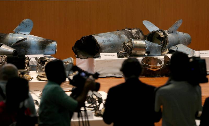 FILE PHOTO: Remains of missiles, which Saudi government says were used to attack an Aramco oil facility, are displayed during a news conference in Riyadh, Saudi Arabia September 18, 2019. REUTERS/Hamad I Mohammed/File Photo
