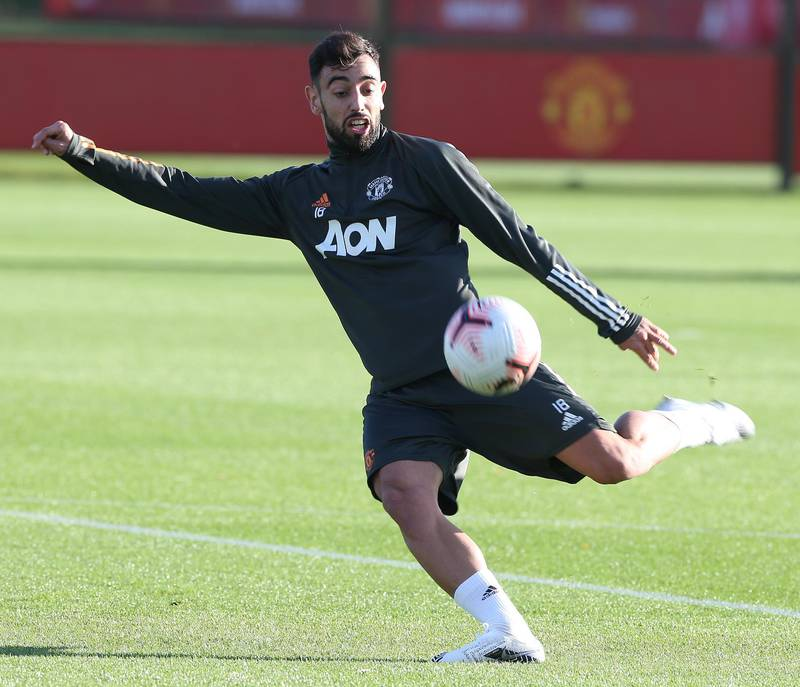 MANCHESTER, ENGLAND - NOVEMBER 19: (EXCLUSIVE COVERAGE) Bruno Fernandes of Manchester United in action during a first team training session at Aon Training Complex on November 19, 2020 in Manchester, England. (Photo by Matthew Peters/Manchester United via Getty Images)