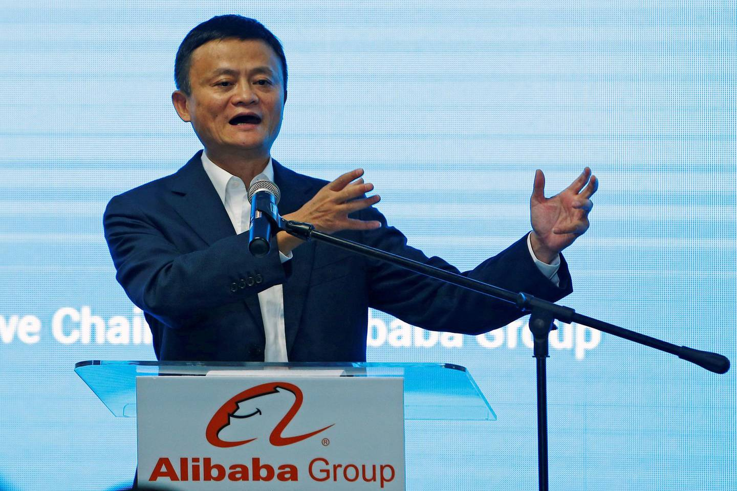FILE PHOTO: Jack Ma, founder of Chinese e-commerce giant Alibaba, speaks during the launch of Alibaba's office in Kuala Lumpur, Malaysia June 18, 2018. REUTERS/Lai Seng Sin/File Photo