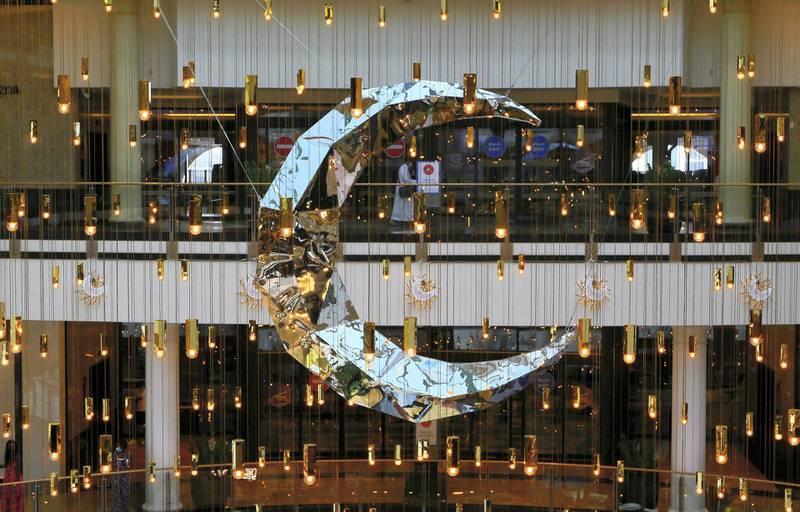 DUBAI , UNITED ARAB EMIRATES , April 12  – 2021 :-  Ramadan decoration at Mall of the Emirates in Dubai. ( Pawan Singh / The National ) For News/Online/Standalone