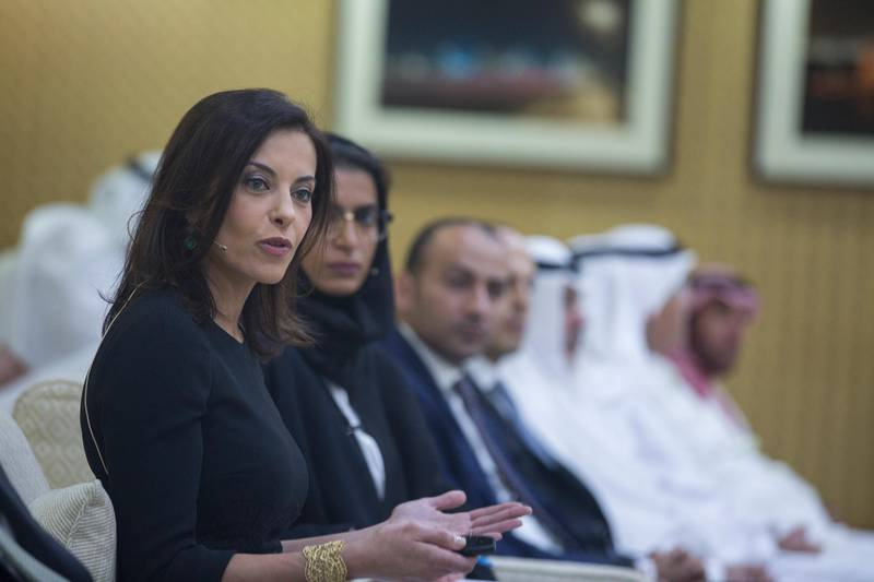 ABU DHABI, UNITED ARAB EMIRATES -December 10, 2014: Dina Habib Powell delivers a lecture entitled Creating a Nation: The Case for Women's Economic Empowerment at Al Bateen majilis.  (Donald Weber / Crown Prince Court - Abu Dhabi)