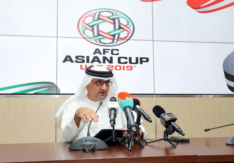 Abu Dhabi, United Arab Emirates - July 26, 2018: AFC Asian Cup UAE 2019 Press conference with Aref Al Awani tournament director of the Asian Cup LOC. Thursday, July 26th, 2018 in Zayed Sports City, Abu Dhabi. Chris Whiteoak / The National