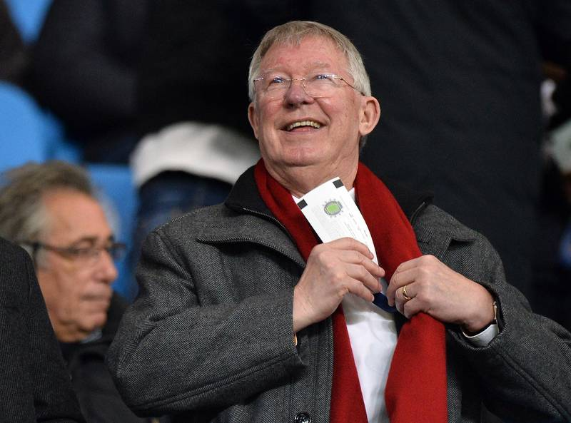 epa08176763 Sir Alex Ferguson, former manager of Manchester United, during the Carabao Cup semi final second leg match between Manchester City and Manchester United in Manchester, Britain, 29 January 2020.  EPA/PETER POWELL