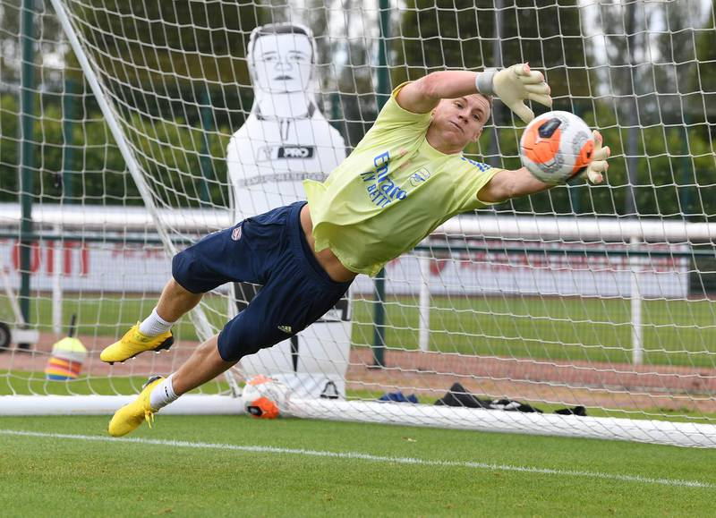 ST ALBANS, ENGLAND - JULY 29: Bernd Leno of Arsenal during a training session at London Colney on July 29, 2020 in St Albans, England. (Photo by Stuart MacFarlane/Arsenal FC via Getty Images)