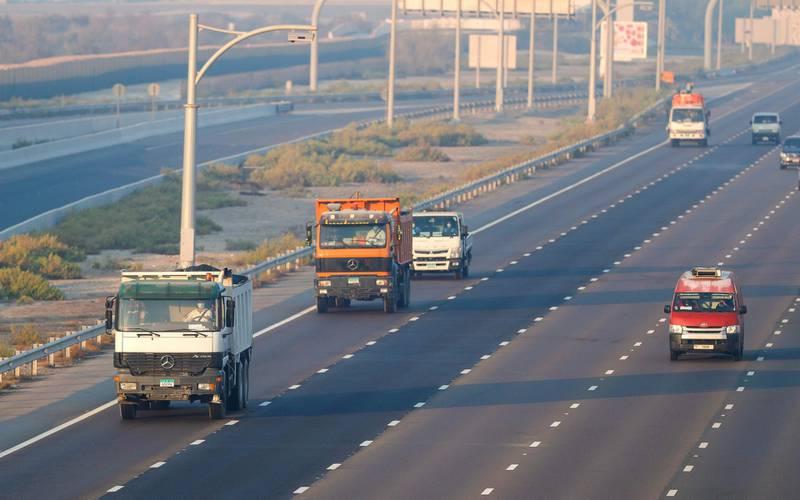 Abu Dhabi, United Arab Emirates, October  23, 2020.    Friday morning hazy weather on the E10 highway, Abu Dhabi.  Victor Besa/The NationalSection:  NAfor:  Standalone/Weather