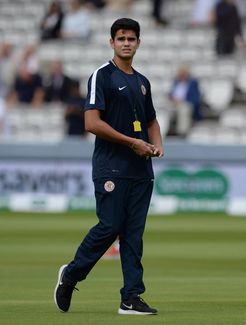 LONDON, ENGLAND - AUGUST 10 : Arjun Tendulkar walks on the field before the second day of the 2nd Specsavers Test Match between England and India at Lord's Cricket Ground on August 10, 2018 in London England. (Photo by Philip Brown/Getty Images)