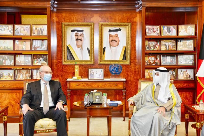 Kuwait Foreign Minister Sheikh Dr Ahmed Nasser al-Mohammad Al-Sabah receives US Special Envoy to Yemen Timothy Lenderking. KUNA