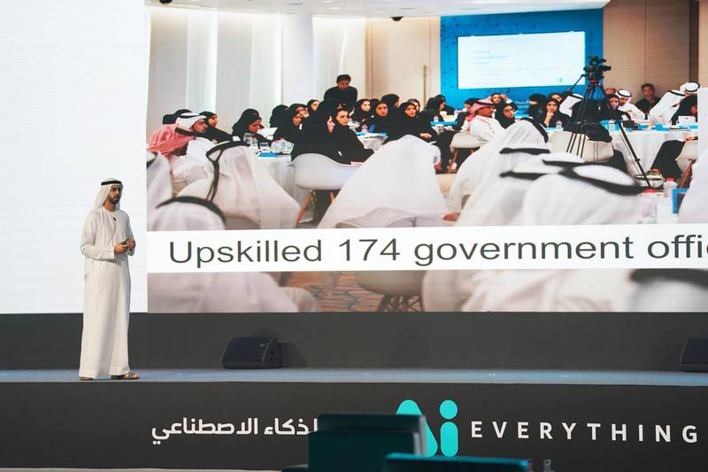 Omar Al Olama, Minister of State for Artificial Intelligence, speaks at the Ai Everything x Restart Dubai Summer Conference. Wam