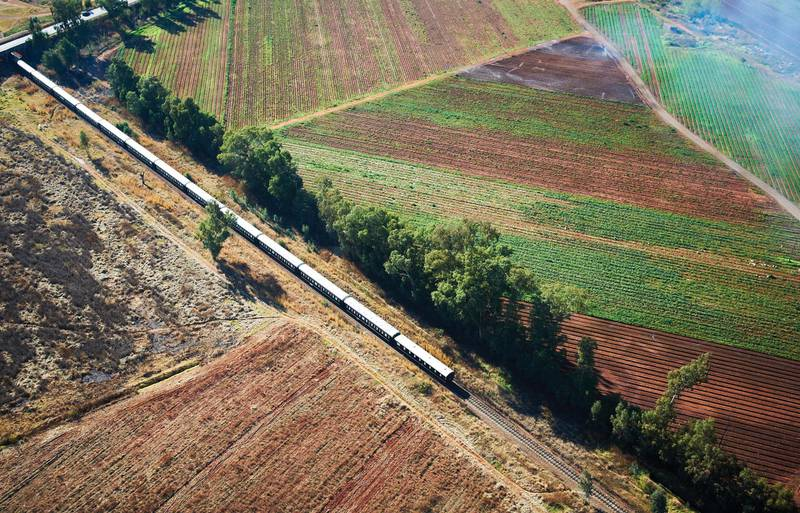 Aerial view of Rovos train in Magaliesberg. Courtesy Rovos Rail Tours