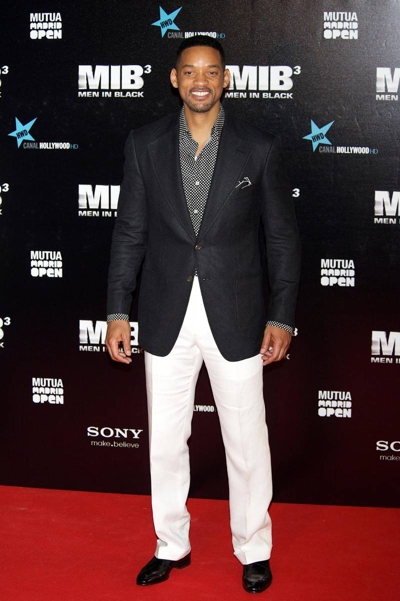 """MADRID, SPAIN - MAY 13:  Actor Will Smith attends the """"Men In Black 3"""" premiere at La Caja Magica on May 13, 2012 in Madrid, Spain.  (Photo by Carlos Alvarez/Getty Images)"""