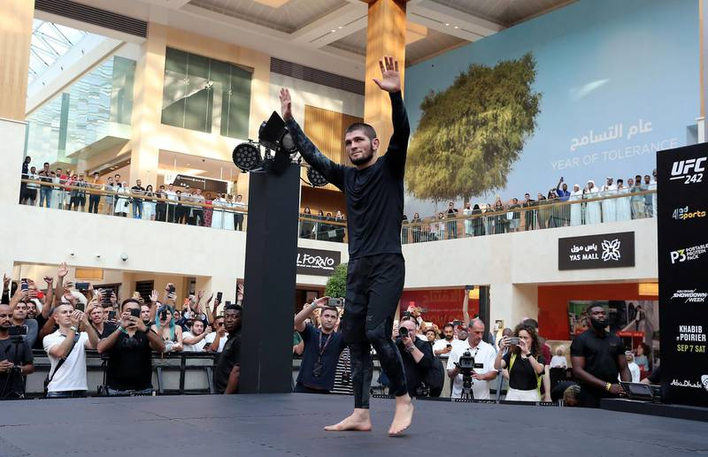 ABU DHABI ,  UNITED ARAB EMIRATES , SEPTEMBER 4 – 2019 :- Khabib Nurmagomedov during the UFC Open Workout session held at The Yas Mall in Abu Dhabi. ( Pawan Singh / The National ) For Sports/Online/Instagram. Story by John