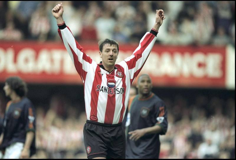 28 Mar 1998:  Matt Le Tissier of Southampton celebrates during the FA Carling Premiership match against Newcastle United at the Dell in Southampton, England. Southampton won 2-1. \ Mandatory Credit: Phil Cole /Allsport