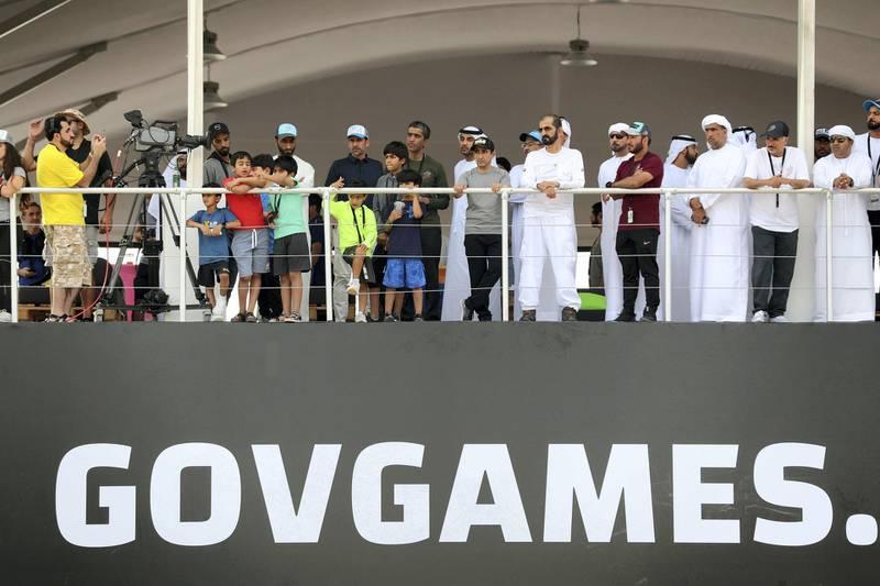 Dubai, United Arab Emirates - March 04, 2019: Sheikh Mohammed bin Rashid Al Maktoum at the men's heats of the Goverment Games 2019. Thursday the 4th of April 2019. Kite Beach, Dubai. Chris Whiteoak / The National