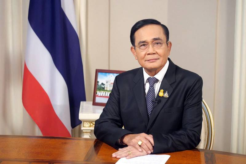 Thailand's Prime Minister Prayuth Chan-ocha speaks on Thai Television pool in Bangkok, Thailand, October 21, 2020. Picture taken October 21, 2020. Thailand Government House/Handout via REUTERS     ATTENTION EDITORS - THIS PICTURE WAS PROVIDED BY A THIRD PARTY. NO RESALES. NO ARCHIVE.
