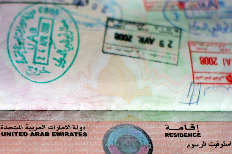 Abu Dhabi - 12th July  ,  2008 - A photograph of the top of my UAE Visa to go with A story Karen Attwood is doing on visas   ( Andrew Parsons  /  The National )Please note not for edition