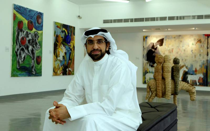Sharjah, 28th June 2010.  Sultan Al Qassemi with the arts exhibited.  At Barjeel Art Foundation, Maraya Art Centre in Al Qasba.  (Jeffrey E Biteng / The National)