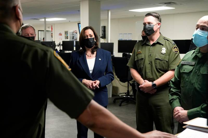 Vice President Kamala Harris tours the U.S. Customs and Border Protection Central Processing Center, Friday, June 25, 2021, in El Paso, Texas. (AP Photo/Jacquelyn Martin)
