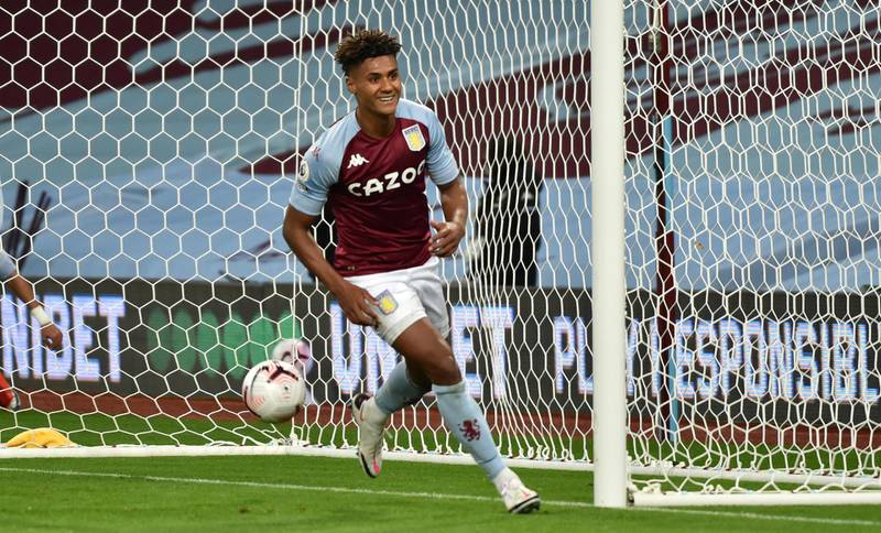 BIRMINGHAM, ENGLAND - OCTOBER 04: Ollie Watkins of Aston Villa  celebrates after he scores his team's fourth goal and his hat-rick  during the Premier League match between Aston Villa and Liverpool at Villa Park on October 04, 2020 in Birmingham, England. Sporting stadiums around the UK remain under strict restrictions due to the Coronavirus Pandemic as Government social distancing laws prohibit fans inside venues resulting in games being played behind closed doors. (Photo by Rui Vieira - Pool/Getty Images)