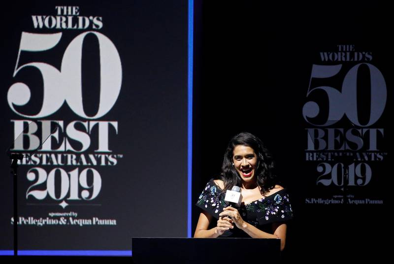 Chef Daniela Soto-Innes speaks after receiving the award for World's Best Female Chef during the World's 50 Best Restaurants Awards at the Marina Bay Sands in Singapore, June 25, 2019. REUTERS/Feline Lim