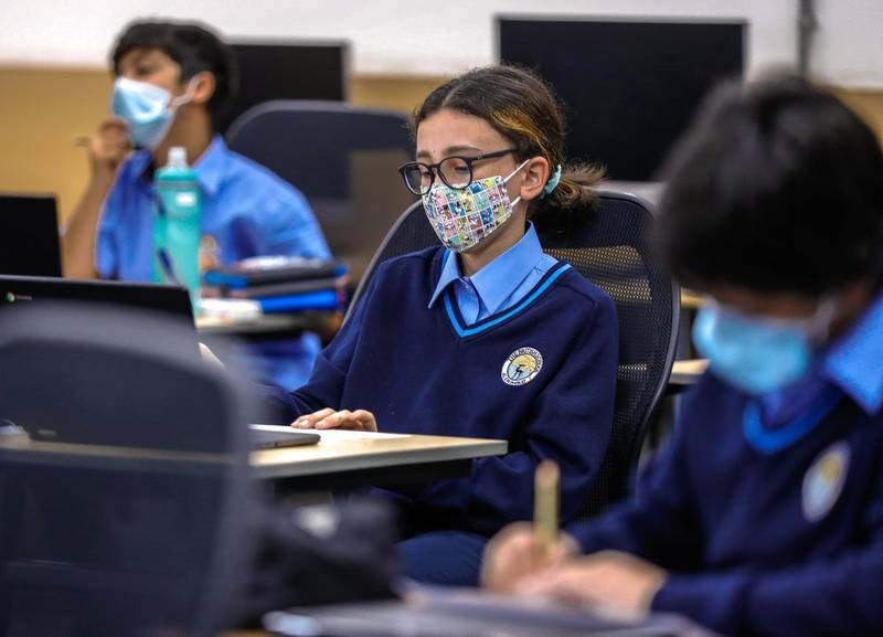 Abu Dhabi, United Arab Emirates, February 16, 2021.  Pupils return to school on Sunday at British School Al Khubairat.  Pupils are distanced in class and are required to wear their face masks throuought the day.Victor Besa/The NationalReporter:  Haneen DajaniSection:  NA