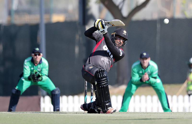 DUBAI , UNITED ARAB EMIRATES , JAN 11 – 2018 :- Ghulam Shabber of UAE playing a shot during the one day international cricket match between UAE vs Ireland held at ICC Academy in Dubai Sports City in Dubai. (Pawan Singh / The National) For Sports. Story by Paul Radley