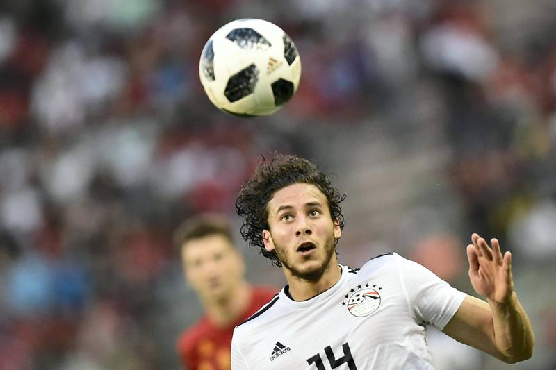 Egypt's midfielder Ramadan Sobhi eyes the ball as he controls it during the international friendly football match between Belgium and Egypt at the King Baudouin Stadium, in Brussels, on June 6, 2018. / AFP PHOTO / JOHN THYS
