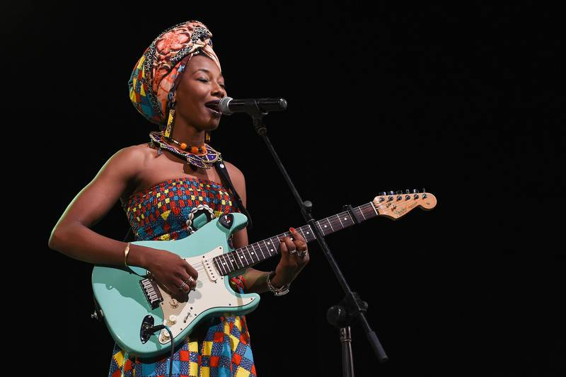 HAVANA, CUBA - DECEMBER 18:  Fatoumata Diawara performs at Teatro Mella during the 32nd Festival Internacional Jazz Plaza de la Habana on December 18, 2016 in Havana, Cuba.  (Photo by Erika Goldring/Getty Images)