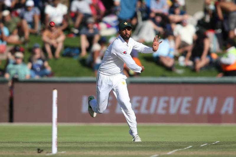 CAPE TOWN, SOUTH AFRICA - JANUARY 03: Shan Masood of Pakistan takes a shy at the stumps while attempting a run out during day 1 of the 2nd Castle Lager Test match between South Africa and Pakistan at PPC Newlands on January 03, 2019 in Cape Town, South Africa. (Photo by Shaun Roy/Gallo Images/Getty Images)
