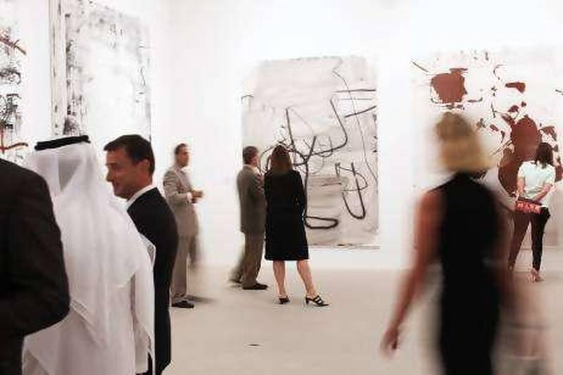Abu Dhabi, United Arab Emitrates --- September 21, 2010 --- The opening of the RSTW Exhibit from the private collection of Larry Gagosian was held on Tuesday evening, September 21, 2010 at Manarat al Saadiyat. The artwork features the works of Rauschenberg, Ruscha, Serra, Twombly, Warhol and Wool.    ( DELORES JOHNSON / The National )