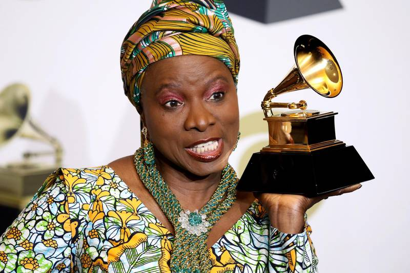 epa08168553 Angelique Kidjo poses in the press room with the Grammy for Best World Music Album during the 62nd annual Grammy Awards ceremony at the Staples Center in Los Angeles, California, USA, 26 January 2020.  EPA-EFE/DAVID SWANSON