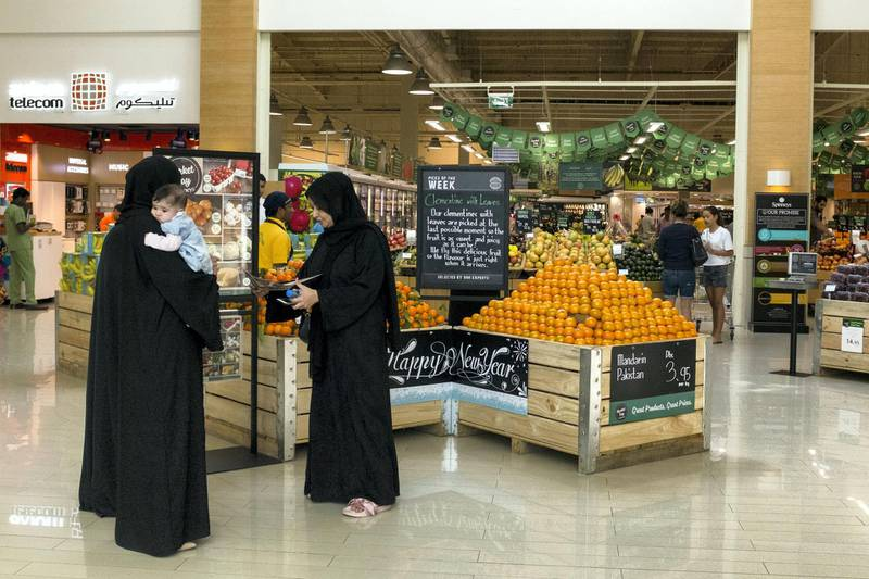 DUBAI, UNITED ARAB EMIRATES - Jan 1, 2018. Spinneys introduces VAT on the first day of the year.(Photo by Reem Mohammed/The National)Reporter: Haneen DajaniSection: NA